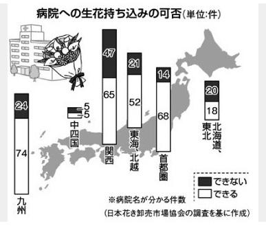 病院見舞い 生花持ち込み禁止が波紋 日本花き卸売市場協会調査